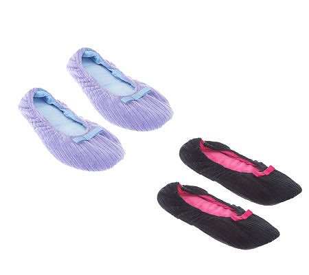 Legacy 2-pair Ribbed Velour Ballet Slippers