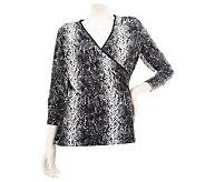 Susan Graver Liquid Knit Surplice Wrap Top with 3/4 Sleeves - A229770