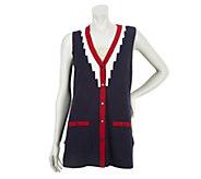 Bob Mackies V-Neck Button Front Knit Vest with Pocket Detail - A230970