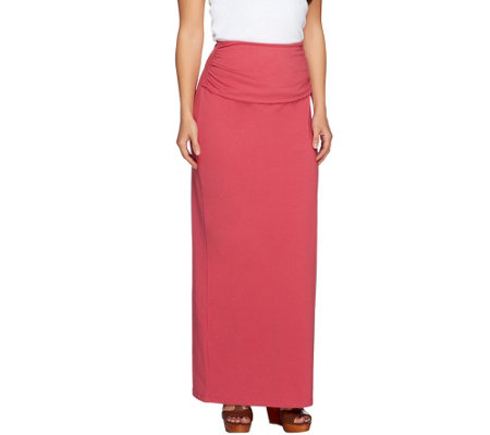 with regular ruched waist maxi skirt qvc