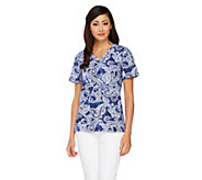 Denim & Co, Short Sleeve V-Neck Paisley Print Top - A231870