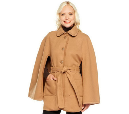 Joan Rivers Button Front Cape with Tie Belt