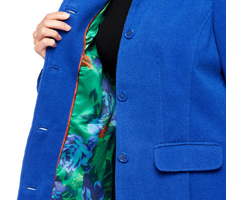 Isaac Mizrahi Live! Coat with Floral Printed Lining