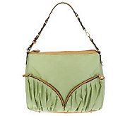 As Is Sondra Roberts Nylon Hobo with Zipper and Pleat Details - A239670