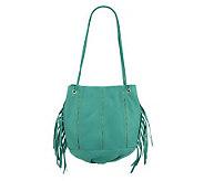 As Is Kelsi Dagger Leather Charlie Drawstring Bag w/Fringe - A240370