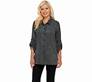 Joan Rivers Boyfriend Shirt in Faux Suede - A257670
