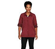 Joan Rivers Boyfriend Shirt in Faux Suede - A257670