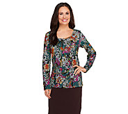 Isaac Mizrahi Live! Floral Lace Pattern Long Sleeve Top - A258470