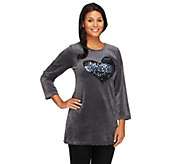 Quacker Factory Ombre Sequin Bracelet Sleeve Velour Tunic - A258570