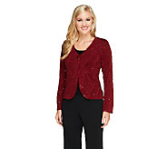 Bob Mackies Textured Button Front Jacket with Sequin Detail - A259070