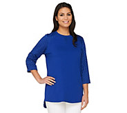 Denim & Co. Active Regular Tunic with Knit Eyelet Trim - A263170
