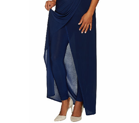 Attitudes by Renee Jersey Knit Sarong Skirt with Leggings