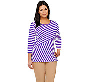 Denim & Co. Perfect Jersey Striped Scoop Neck 3/4 Sleeve Top - A264670