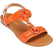 Franco Sarto Leather T-strap Sandals with Buckles - Gili - A265570