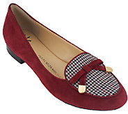 As Is Isaac Mizrahi Live! Menswear Suede Loafers w/ Bow - A265770