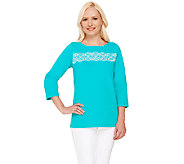 Bob Mackies 3/4 Sleeve Knit Top with Embroidery Detail - A266370