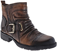 Earth Leather Pleated Ankle Boots with Buckle - Jericho - A270070