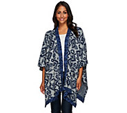 Denim & Co. Jacquard Open Front Poncho with Contrast Trim - A270170