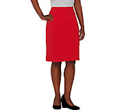 As Is Susan Graver Weekend French Terry Comfort Waist Slim Skirt - A273170