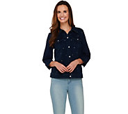 Quacker Factory DreamJeannes Cropped Denim Jacket with Rhinestones - A273970