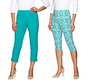 Women with Control Printed Pedal Pushers and Crop Pants Set - A275670