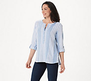 Denim & Co. Striped Yarn Dyed Woven Top - A275870