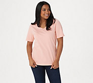 Denim & Co. Essentials V-neck Short Sleeve Top - A277770