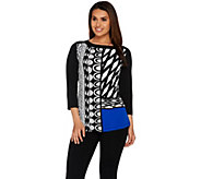 Susan Graver Printed Liquid Knit 3/4 Sleeve Top with Solid Sleeves - A278870
