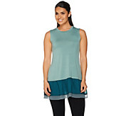 LOGO by Lori Goldstein Knit Tank with Color-Block Trim - A279470