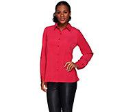 As Is Susan Graver Stretch Peachskin Button Front Big Shirt - A279670