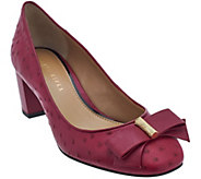 As Is Judith Ripka Ostrich Texture Leather Heels w/ Bow Detail - Olivia - A280370