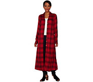 C. Wonder Plaid Button Front Long Sleeve Duster - A281770