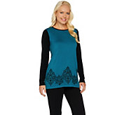 Bob Mackies Rib Sleeve Embroidered Hem Sweater - A282270