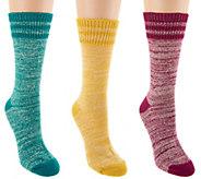 MUK LUKS Set of 3 Pairs Faux Wool Camp Socks - A283270