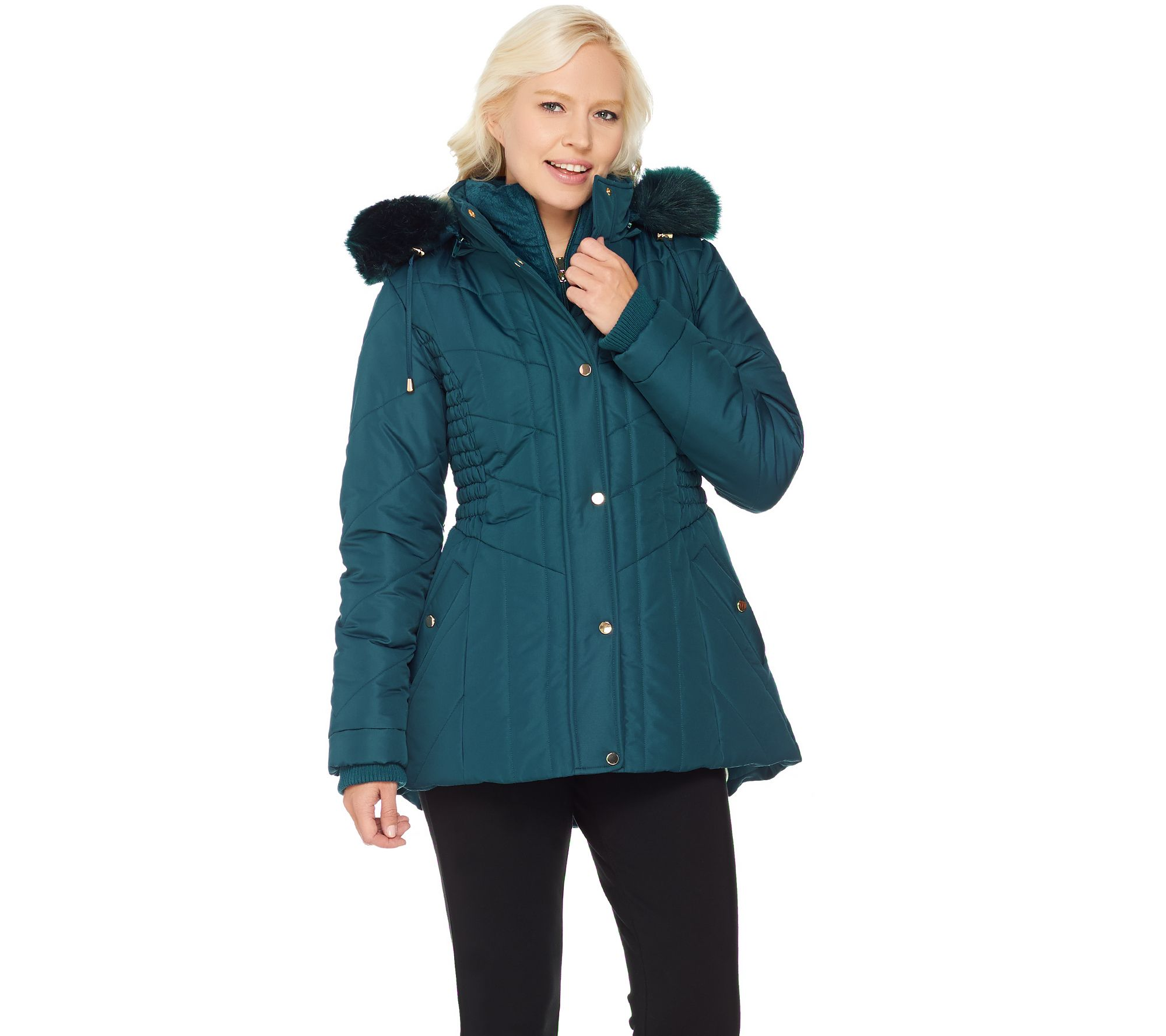 Susan Graver Quilted Jacket with Removable Faux Fur Trimmed Hood ...