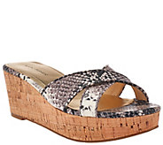 As Is Marc Fisher Cross Band Wedge Sandals - Cilla - A284670