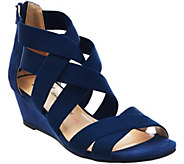 As Is Isaac Mizrahi Live! Stretch Crossover Low Wedge Sandals - A285070