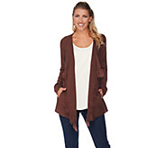 Lisa Rinna Collection Open Front Fringe Cardigan with Pockets - A285570