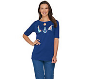 Quacker Factory Endless Summer Elbow Sleeve Keyhole T-shirt with Charm - A287070