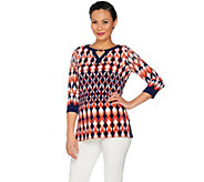 Susan Graver Printed Liquid Knit Top with Keyhole Trim - A287670