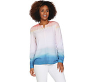 Kelly by Clinton Kelly Long Sleeve Printed Georgette Top - A290470