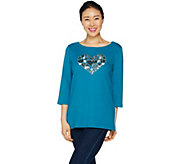 Quacker Factory Heart Sequin T-shirt with Bateau Neck - A291870