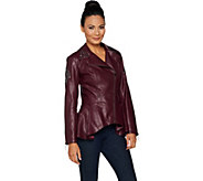 G.I.L.I. Faux Leather Peplum Motorcycle Jacket - A293370