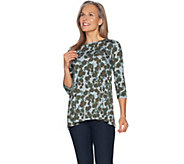 LOGO by Lori Goldstein Printed Boat Neck Top w/ Forward Seams - A294670