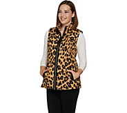 As Is Dennis Basso Water Resistance Quilted Animal Print Vest - A295470