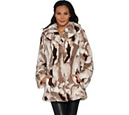 Dennis Basso Sculpted Faux Fur Shawl Collar Coat - A299670