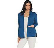 LOGO by Lori Goldstein Open-Front Cardigan With Pockets - A302470