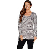 As Is Isaac Mizrahi Live! SOHO Marble Print Scoop Neck LS Top - A306170