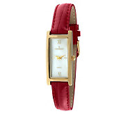Peugeot Ladies Goldtone Red Leather Strap Watch - A314770