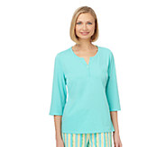 Jockey Separates Jersey 3/4-Sleeve Y-Neck Top - A332670